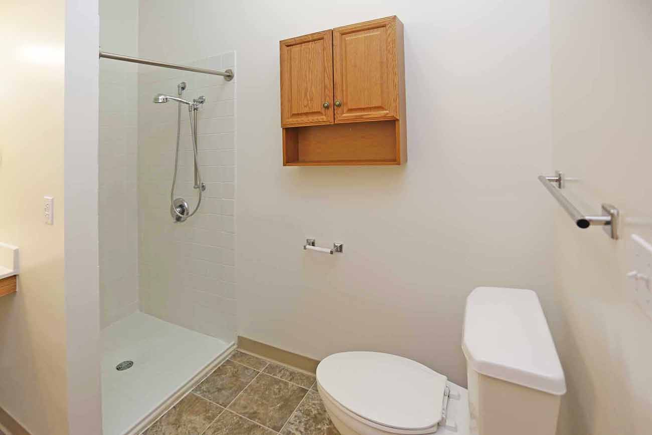 1 Bedroom: Wheelchair-accessible bath in select units